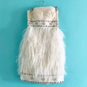 Sue Wong ostrich feather rhinestone dress 4